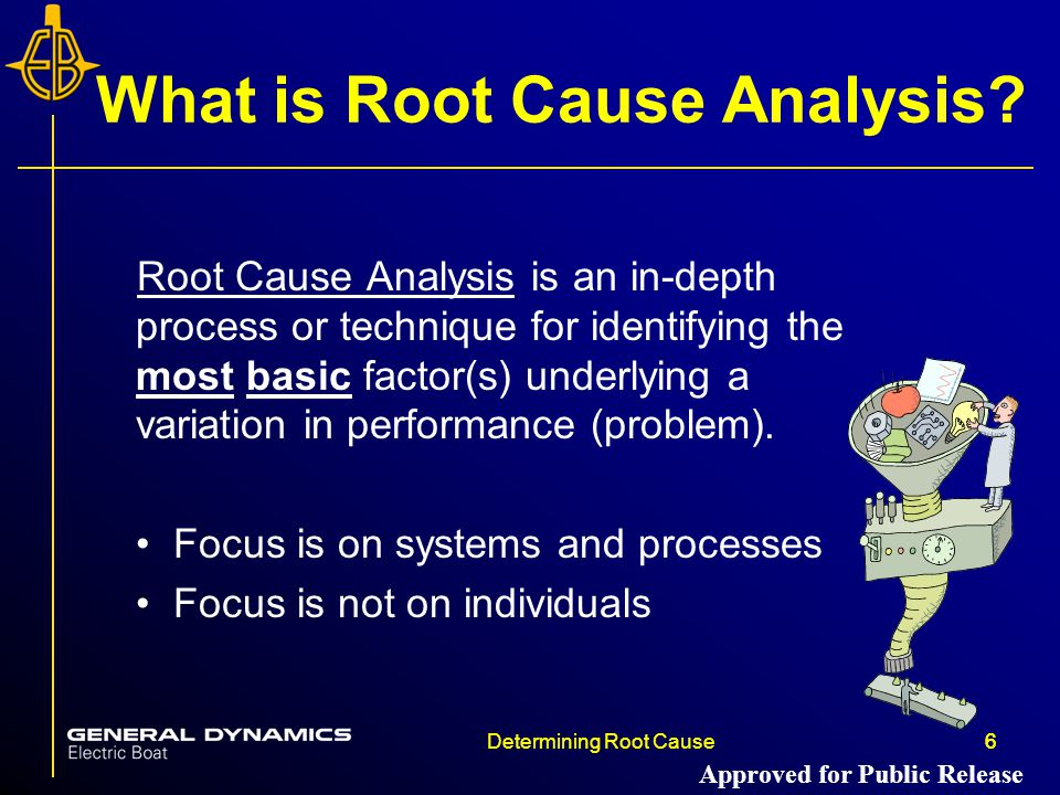 6Determining Root Cause6 What is Root Cause Analysis? Root Cause Analysis is an in-depth process or technique for identifying the most basic factor(s)