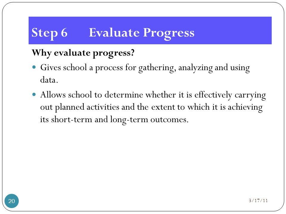 Step 6Evaluate Progress Why evaluate progress.