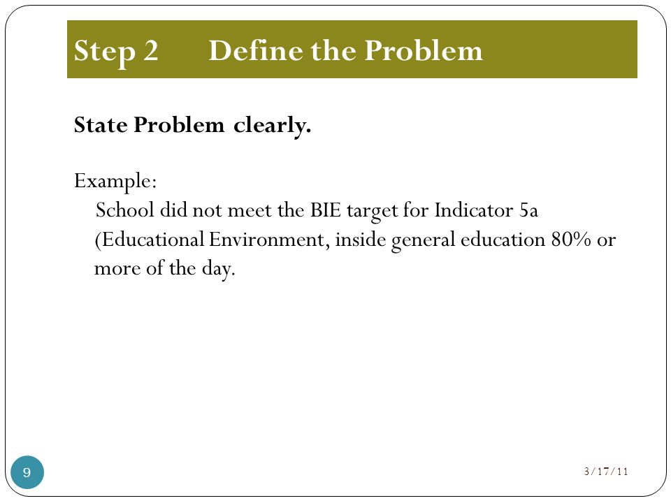 Step 2Define the Problem State Problem clearly.