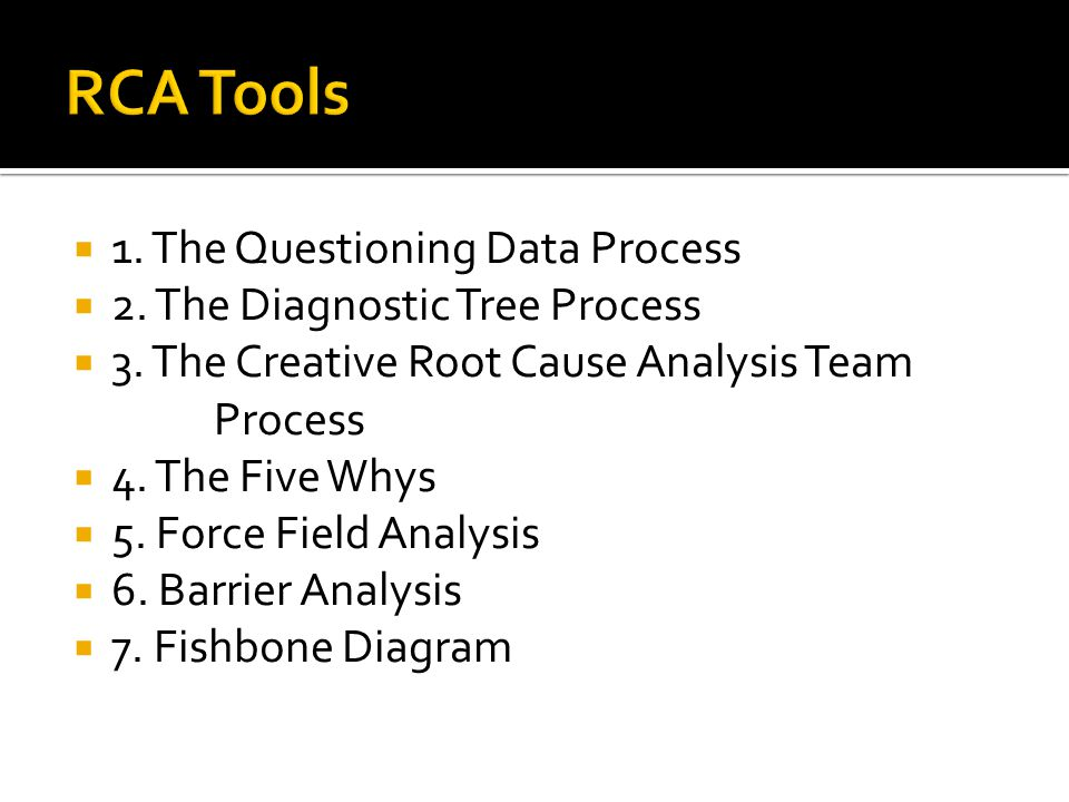  1. The Questioning Data Process  2. The Diagnostic Tree Process  3.