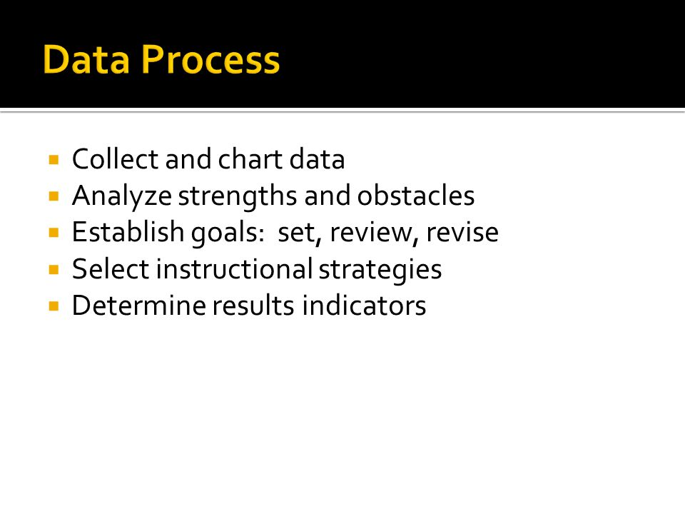  Collect and chart data  Analyze strengths and obstacles  Establish goals: set, review, revise  Select instructional strategies  Determine results indicators