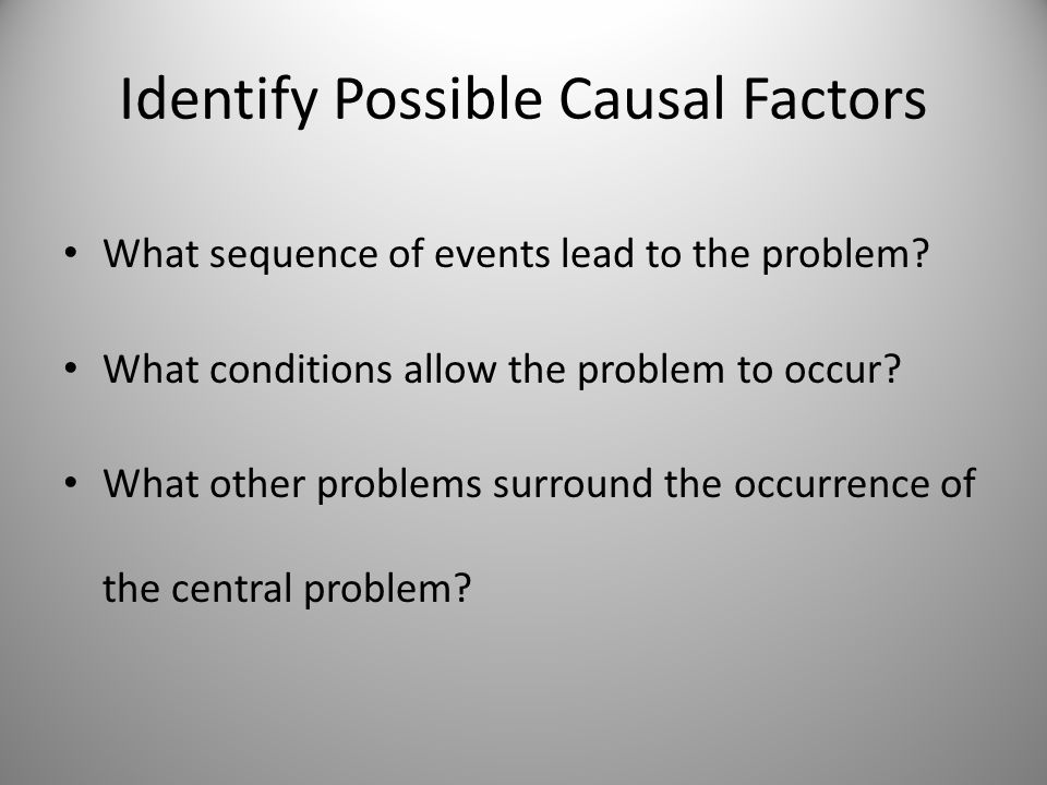Identify Possible Causal Factors What sequence of events lead to the problem? What conditions allow the problem to occur? What other problems surround