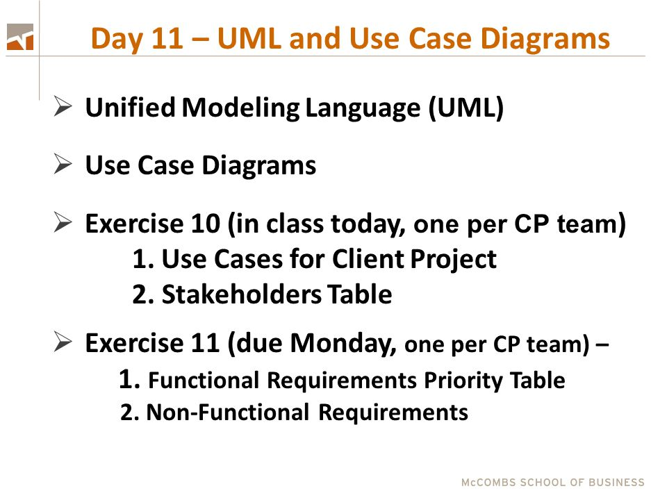 Day 11 – UML and Use Case Diagrams  Unified Modeling Language (UML)  Use Case Diagrams  Exercise 10 (in class today, one per CP team ) 1. Use Cases