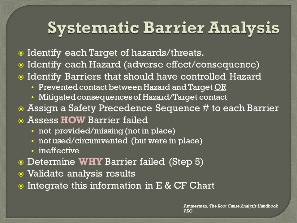  Identify each Target of hazards/threats.  Identify each Hazard (adverse effect/consequence)  Identify Barriers that should have controlled Hazard