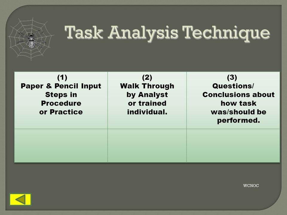 Task Analysis Technique