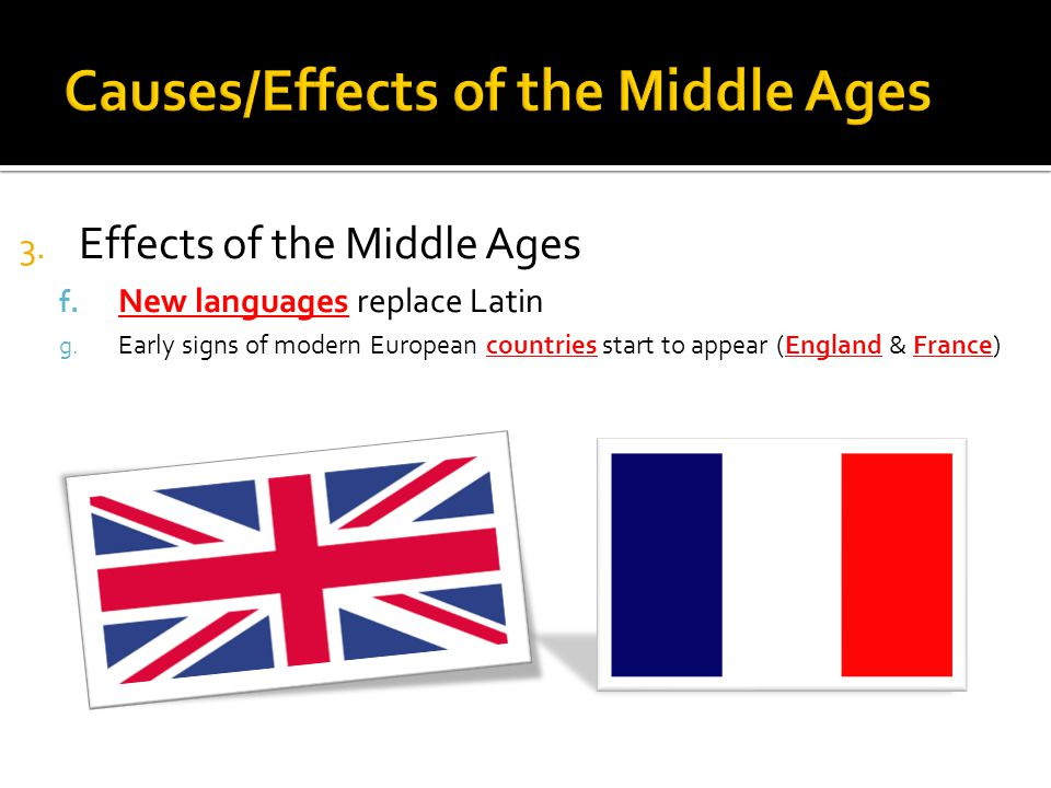 3. Effects of the Middle Ages f. New languages replace Latin g.