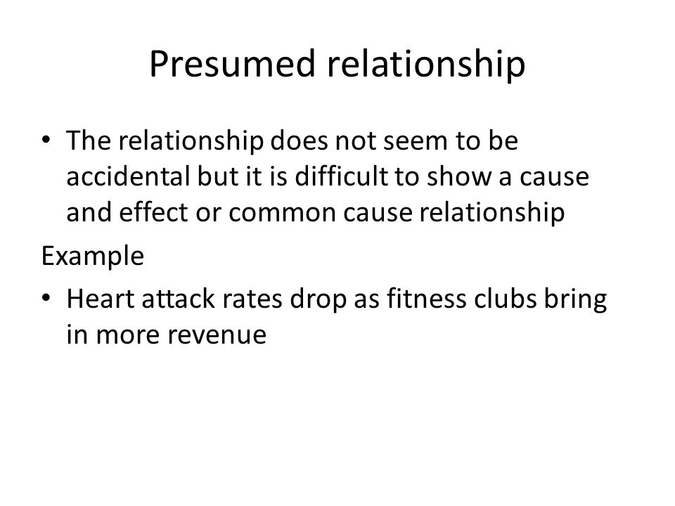 Presumed relationship The relationship does not seem to be accidental but it is difficult to show a cause and effect or common cause relationship Exam