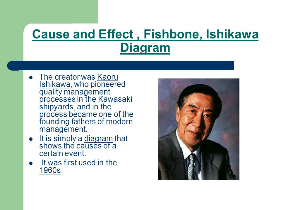 Cause and Effect, Fishbone, Ishikawa Diagram The creator was Kaoru Ishikawa, who pioneered quality management processes in the Kawasaki shipyards, and in the process became one of the founding fathers of modern management.Kaoru IshikawaKawasaki It is simply a diagram that shows the causes of a certain event.diagram It was first used in the 1960s.