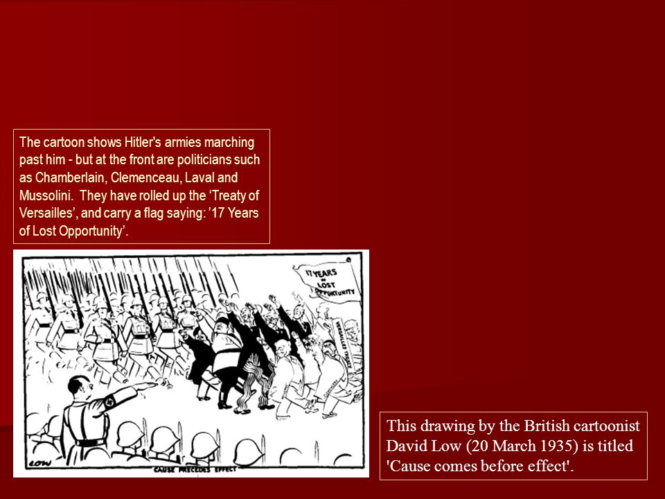 This drawing by the British cartoonist David Low (20 March 1935) is titled 'Cause comes before effect'. The cartoon shows Hitler's armies marching pas