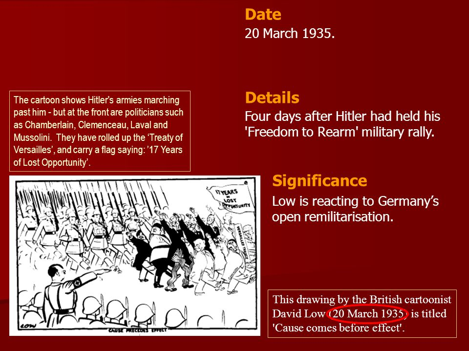 20 March 1935. Four days after Hitler had held his 'Freedom to Rearm' military rally. Date Details Significance Low is reacting to Germany's open remi