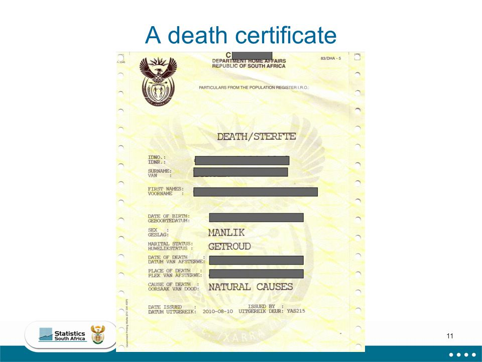 11 A death certificate