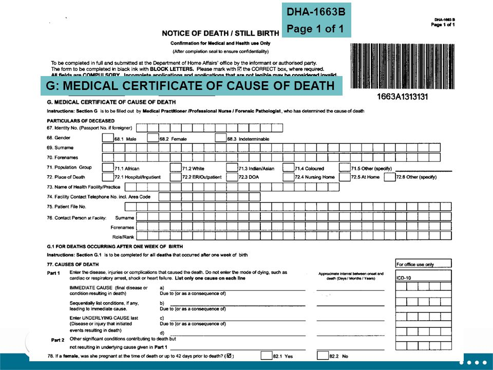 17 G: MEDICAL CERTIFICATE OF CAUSE OF DEATH DHA-1663B Page 1 of 1