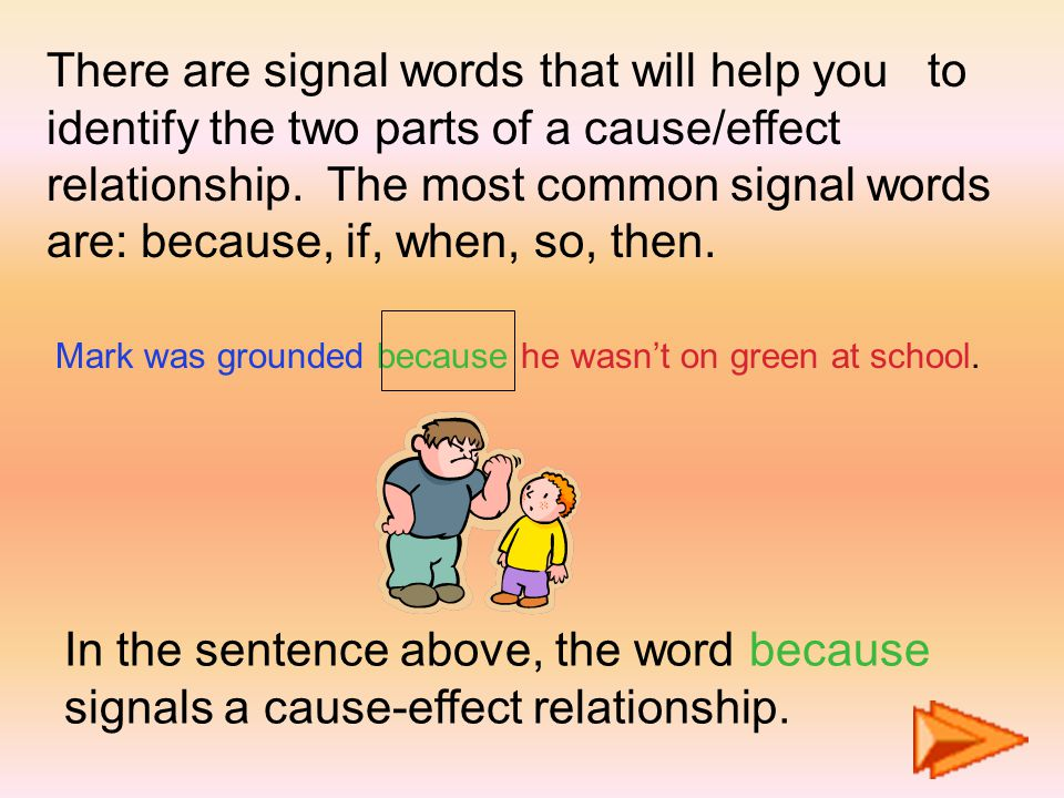 There are signal words that will help you to identify the two parts of a cause/effect relationship.