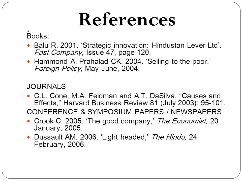 References Books: Balu R. 2001. 'Strategic innovation: Hindustan Lever Ltd'.
