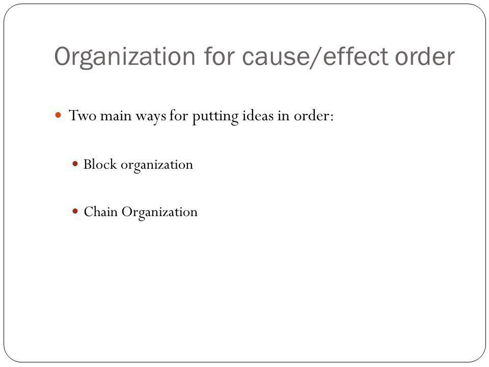 Organization for cause/effect order Two main ways for putting ideas in order: Block organization Chain Organization