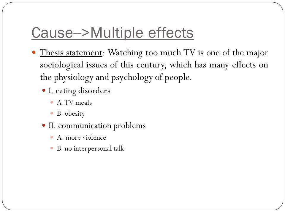 Cause-->Multiple effects Thesis statement: Watching too much TV is one of the major sociological issues of this century, which has many effects on the physiology and psychology of people.