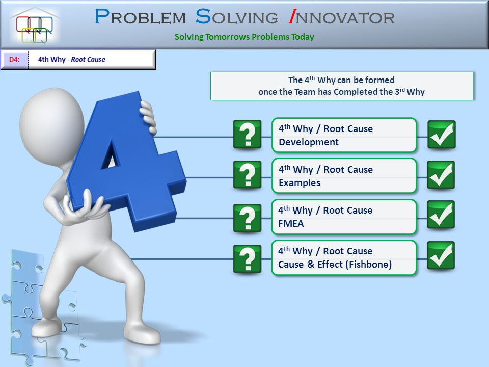 P roblem S olving I nnovator Solving Tomorrows Problems Today 4 th Why / Root Cause Cause & Effect (Fishbone) 4 th Why / Root Cause Cause & Effect (Fishbone) The 4 th Why can be formed once the Team has Completed the 3 rd Why The 4 th Why can be formed once the Team has Completed the 3 rd Why 4 th Why / Root Cause Development 4 th Why / Root Cause Development 4 th Why / Root Cause FMEA 4 th Why / Root Cause FMEA 4 th Why / Root Cause Examples 4 th Why / Root Cause Examples