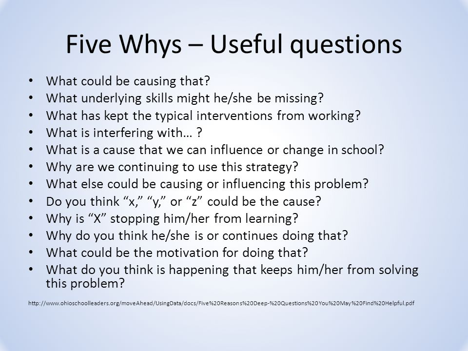 Five Whys – Useful questions What could be causing that.