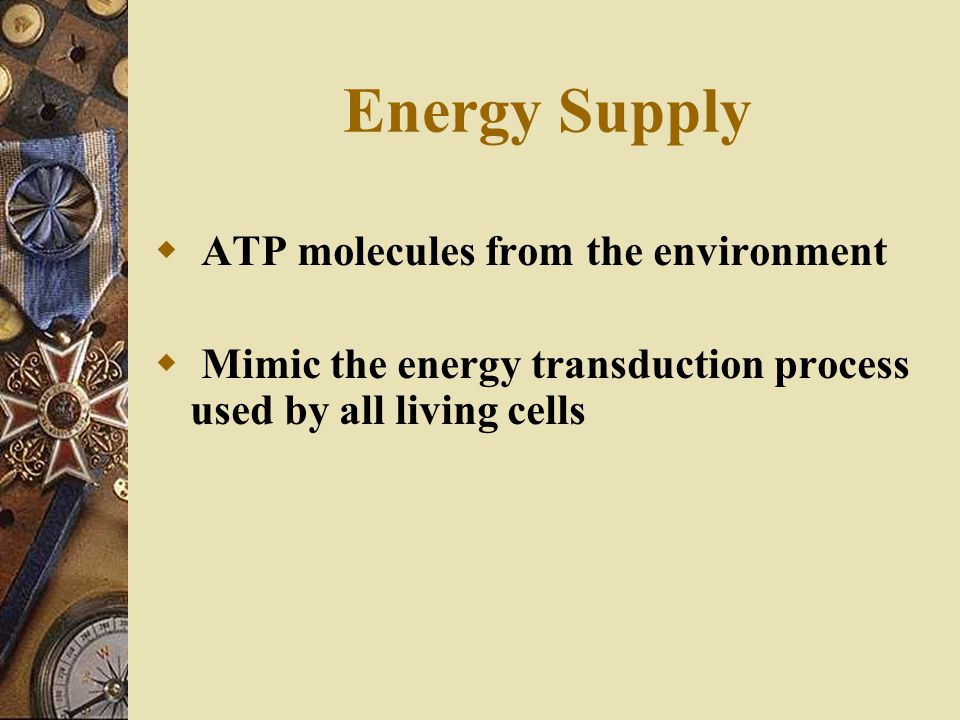 Energy Supply  ATP molecules from the environment  Mimic the energy transduction process used by all living cells