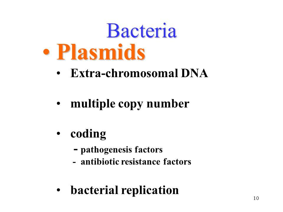10 Bacteria PlasmidsPlasmids Extra-chromosomal DNA multiple copy number coding - pathogenesis factors - antibiotic resistance factors bacterial replic
