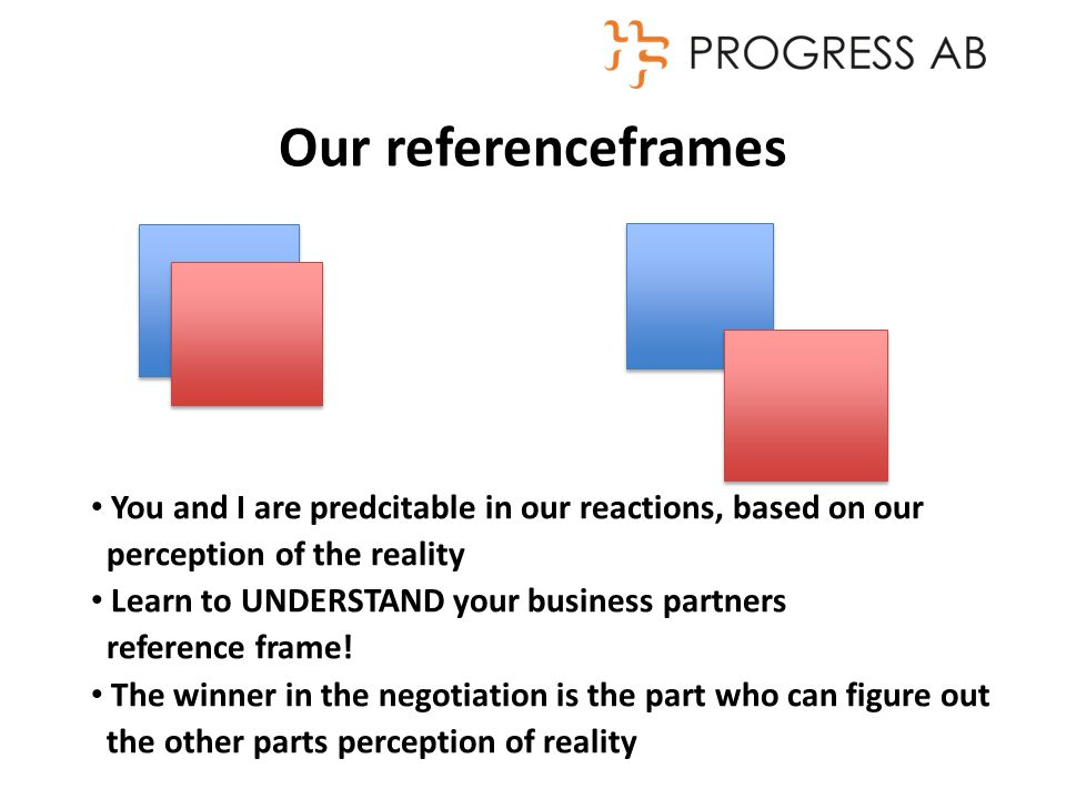 Our referenceframes You and I are predcitable in our reactions, based on our perception of the reality Learn to UNDERSTAND your business partners reference frame.