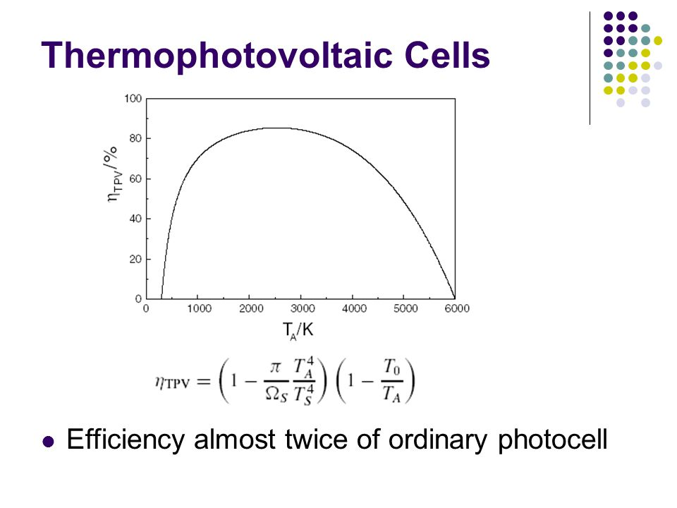 Thermophotovoltaic Cells Efficiency almost twice of ordinary photocell