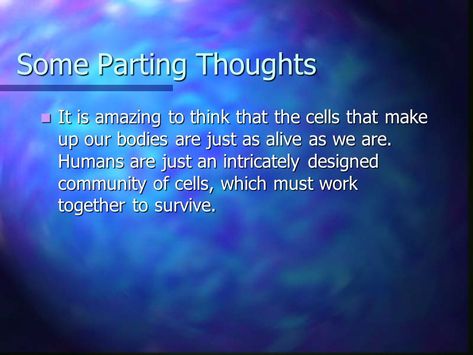 Some Parting Thoughts It is amazing to think that the cells that make up our bodies are just as alive as we are. Humans are just an intricately design