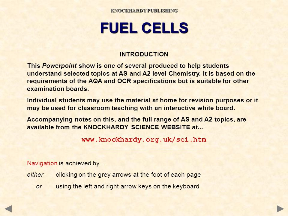 INTRODUCTION This Powerpoint show is one of several produced to help students understand selected topics at AS and A2 level Chemistry. It is based on