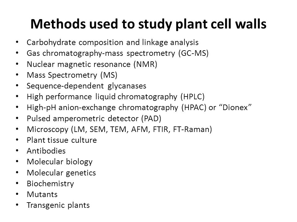Methods used to study plant cell walls Carbohydrate composition and linkage analysis Gas chromatography-mass spectrometry (GC-MS) Nuclear magnetic res
