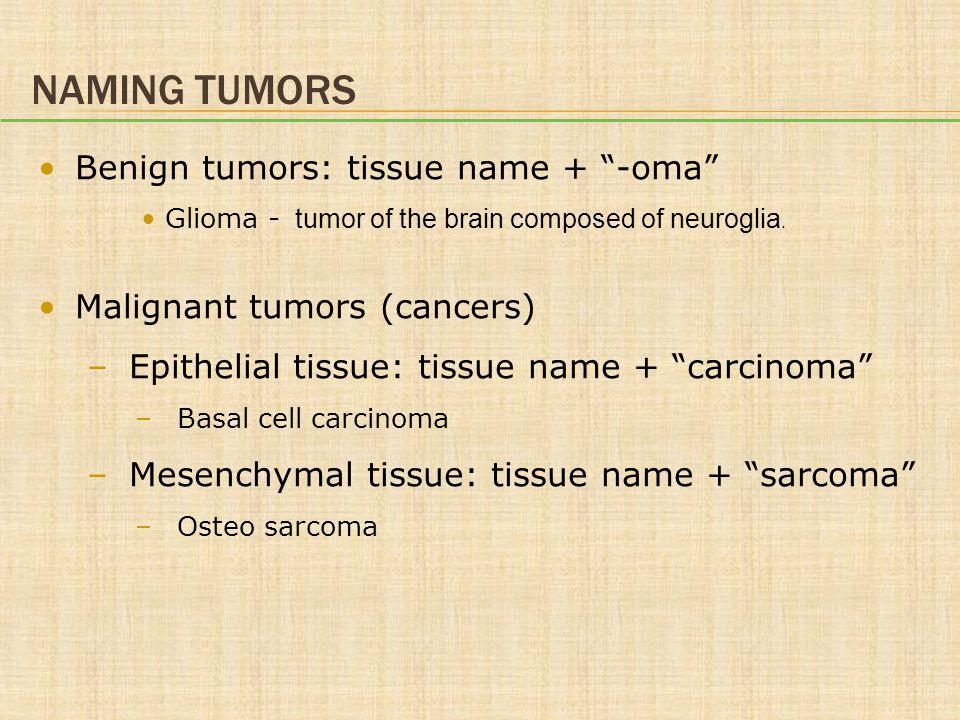 """NAMING TUMORS Benign tumors: tissue name + """"-oma"""" Glioma - tumor of the brain composed of neuroglia. Malignant tumors (cancers) –Epithelial tissue: ti"""