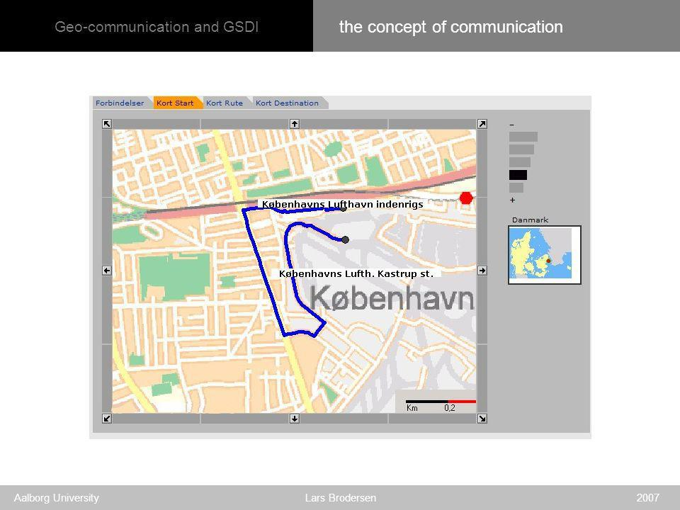 Geo-communication and GSDI Aalborg University Lars Brodersen 2007 the concept of communication