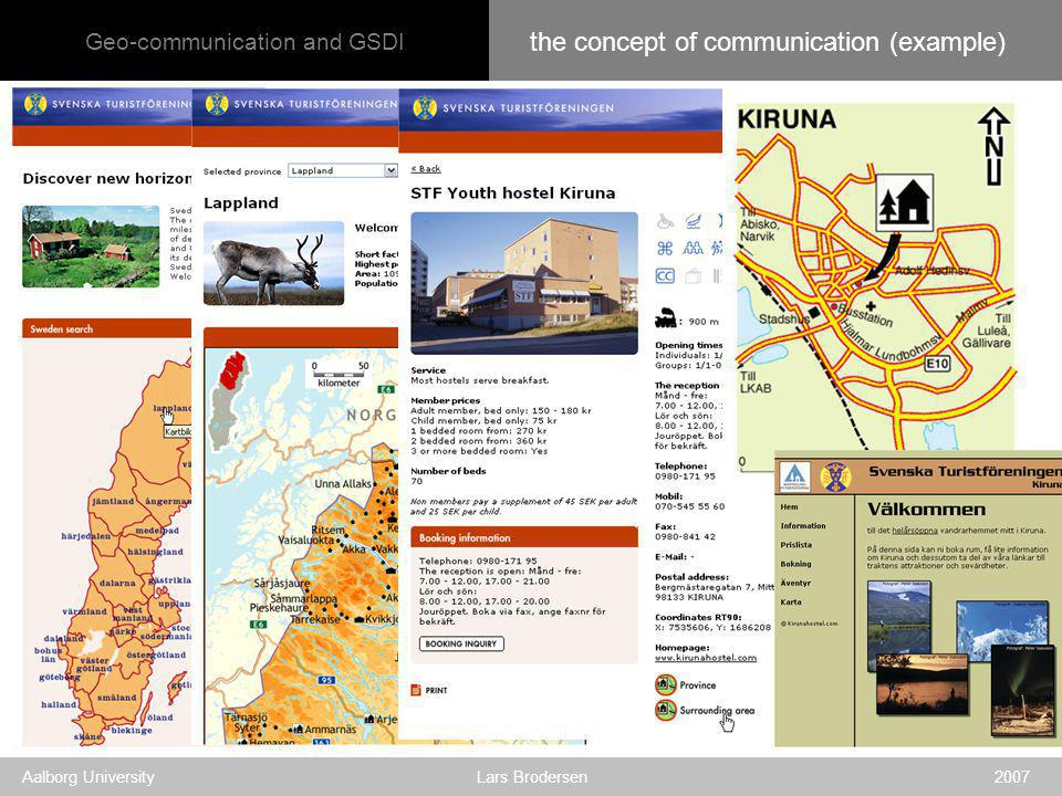 Geo-communication and GSDI Aalborg University Lars Brodersen 2007 the concept of communication (example)
