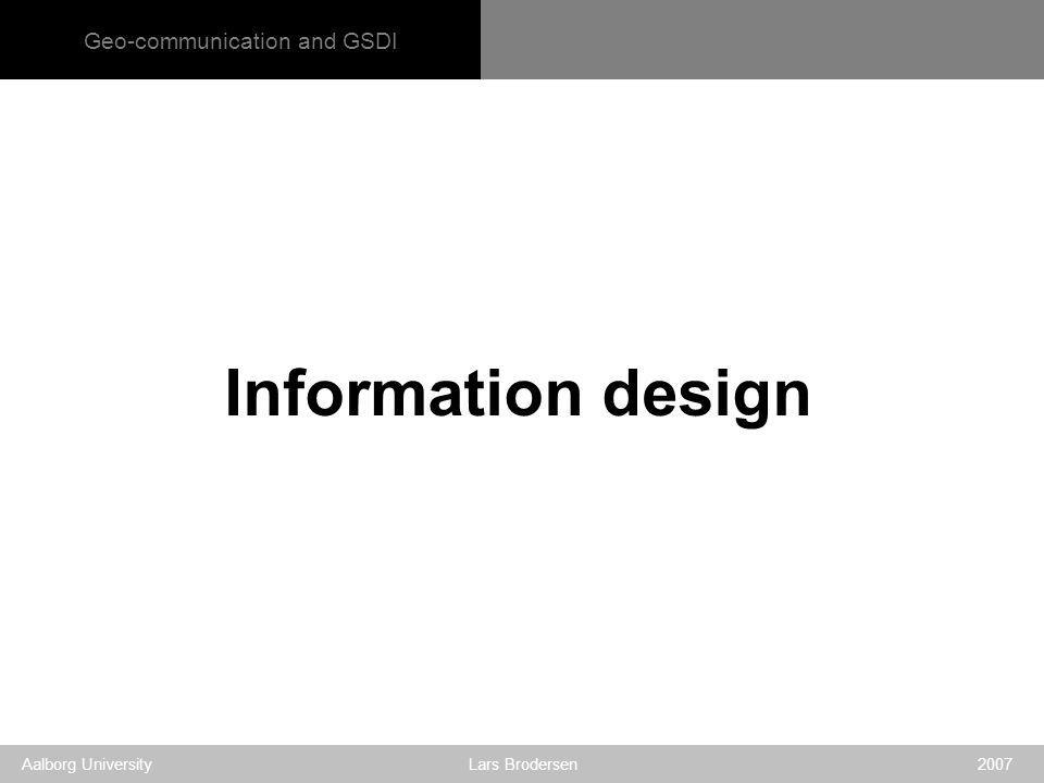 Geo-communication and GSDI Aalborg University Lars Brodersen 2007 Information design