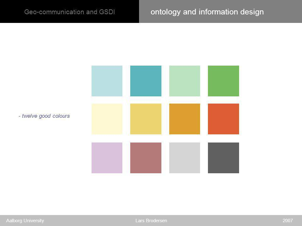 Geo-communication and GSDI Aalborg University Lars Brodersen 2007 - twelve good colours ontology and information design