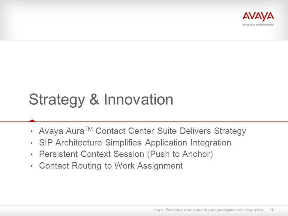 Avaya – Proprietary. Use pursuant to your signed agreement or Avaya policy.12 Strategy & Innovation ‣ Avaya Aura TM Contact Center Suite Delivers Stra
