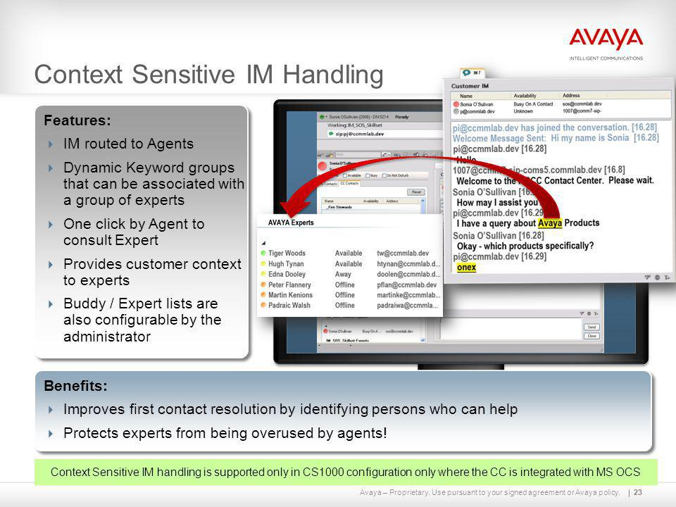 Avaya – Proprietary. Use pursuant to your signed agreement or Avaya policy.23 Context Sensitive IM Handling 23 Features:  IM routed to Agents  Dynam
