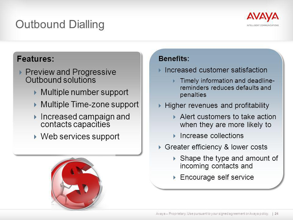 Avaya – Proprietary. Use pursuant to your signed agreement or Avaya policy.24 Outbound Dialling Features:  Preview and Progressive Outbound solutions