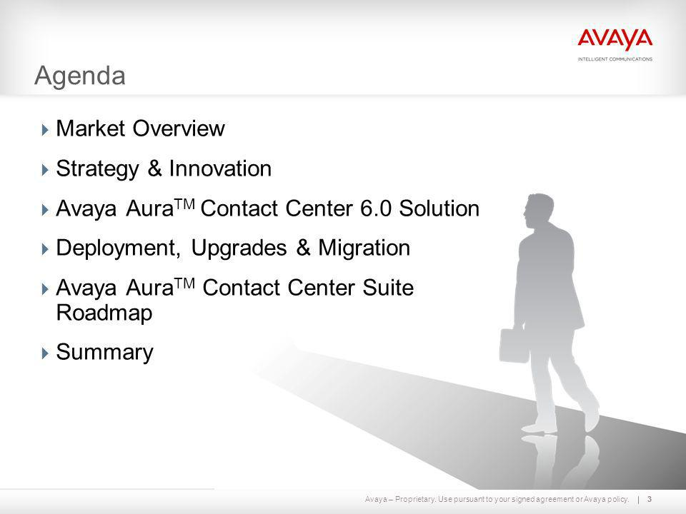 Avaya – Proprietary. Use pursuant to your signed agreement or Avaya policy.33 Agenda  Market Overview  Strategy & Innovation  Avaya Aura TM Contact