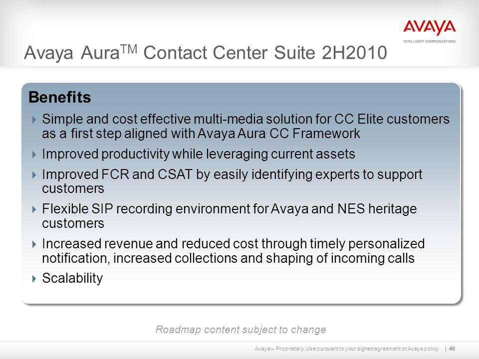 Avaya – Proprietary. Use pursuant to your signed agreement or Avaya policy.46 Avaya Aura TM Contact Center Suite 2H2010 46 Capabilities  Multi-media