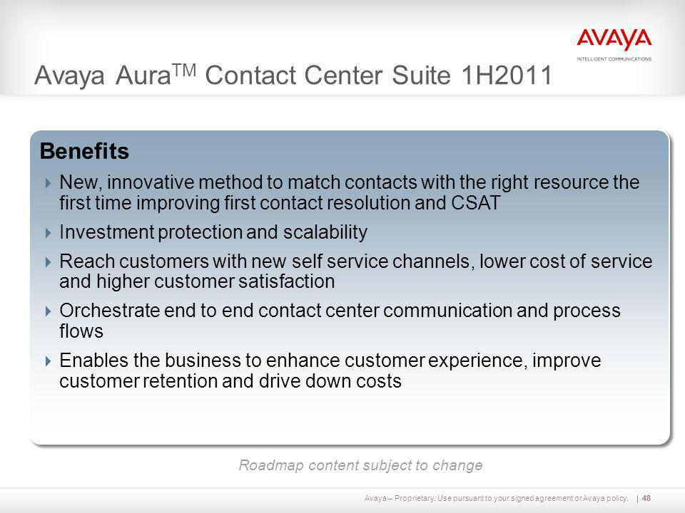 Avaya – Proprietary. Use pursuant to your signed agreement or Avaya policy.48 Avaya Aura TM Contact Center Suite 1H2011 48 Capabilities  Breakthrough