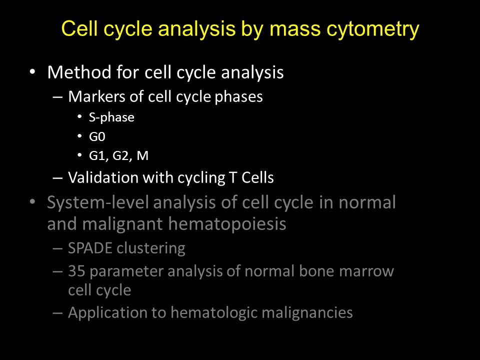 Method for cell cycle analysis – Markers of cell cycle phases S-phase G0 G1, G2, M – Validation with cycling T Cells System-level analysis of cell cycle in normal and malignant hematopoiesis – SPADE clustering – 35 parameter analysis of normal bone marrow cell cycle – Application to hematologic malignancies Cell cycle analysis by mass cytometry