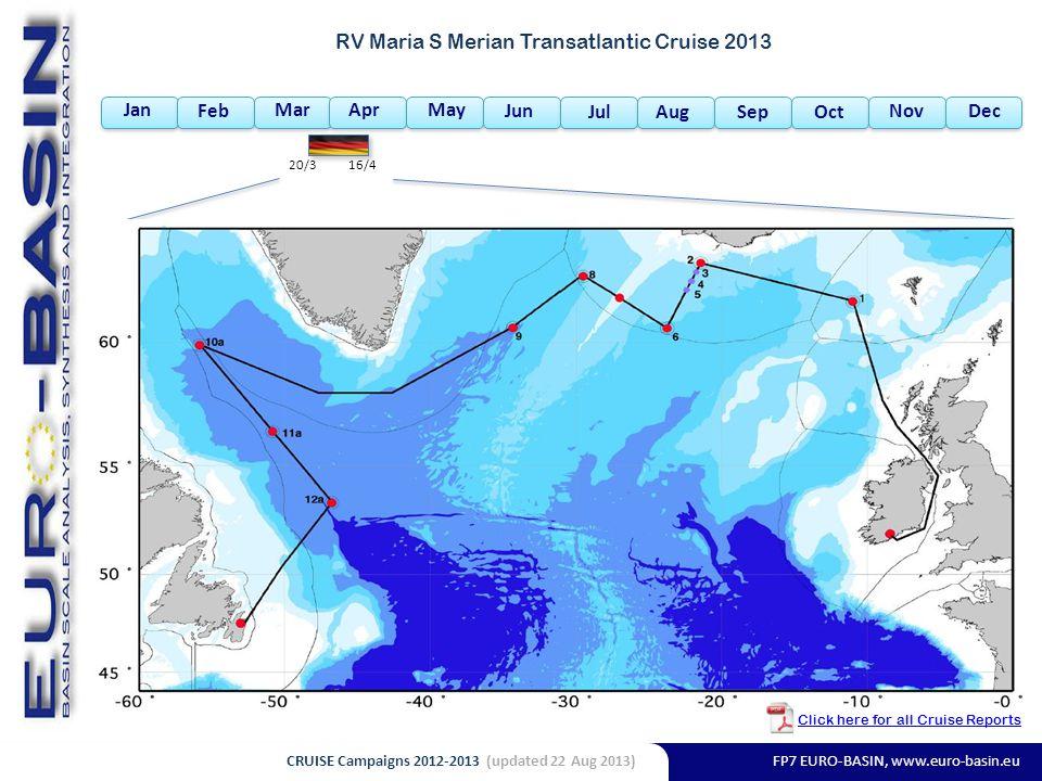 FP7 EURO-BASIN, www.euro-basin.eu Jan Feb MarAprMay Jun Jul AugSepOct NovDec RV Maria S Merian Transatlantic Cruise 2013 20/316/4 Click here for all Cruise Reports CRUISE Campaigns 2012-2013 (updated 22 Aug 2013)