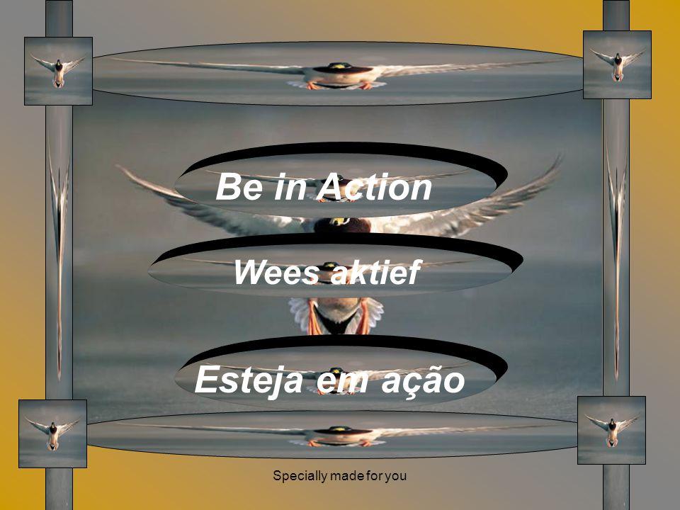 Specially made for you Be in Action Wees aktief Esteja em ação