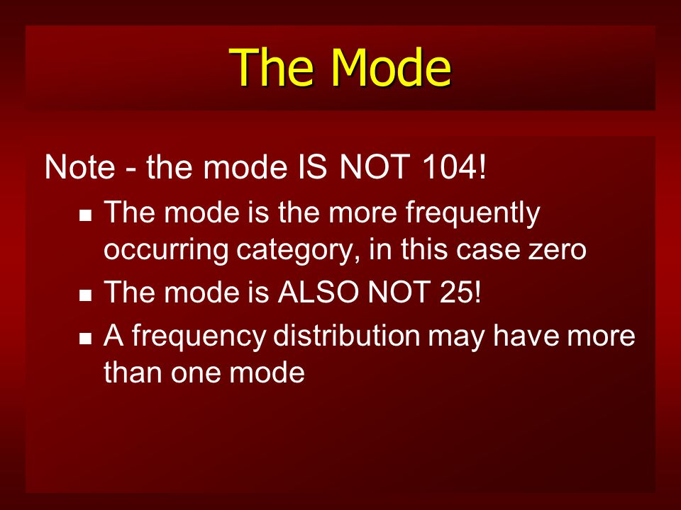 The Mode The mode n is the score that occurs most frequently in a distribution n In our table, zero (0) is the mode n Twenty-five states (25 under the f column) did not execute a single convicted offender between 1977 and 1995