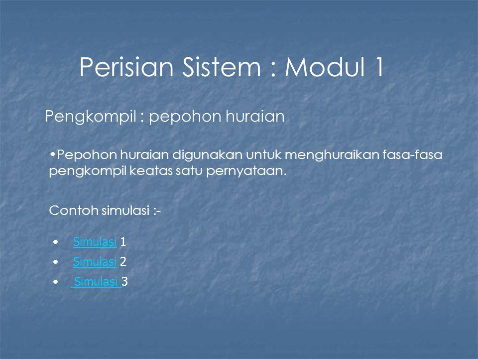 Perisian Sistem : Modul 1 Pengkompil : pepohon huraian Pepohon huraian digunakan untuk menghuraikan fasa-fasa pengkompil keatas satu pernyataan. Conto