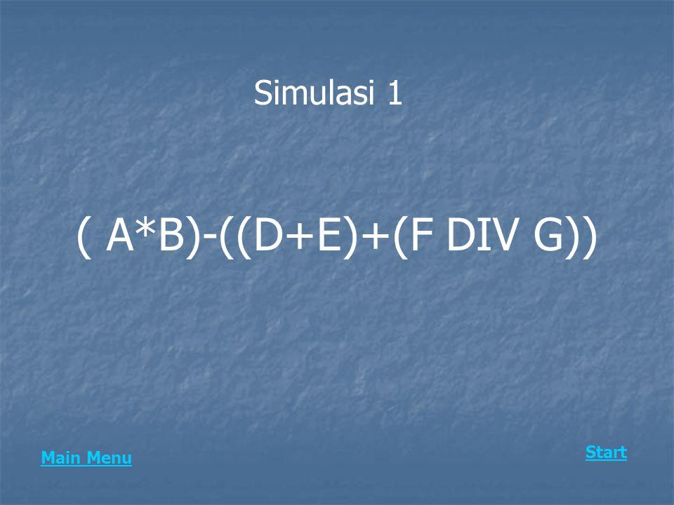 Simulasi 1 ( A*B)-((D+E)+(F DIV G)) Start Main Menu