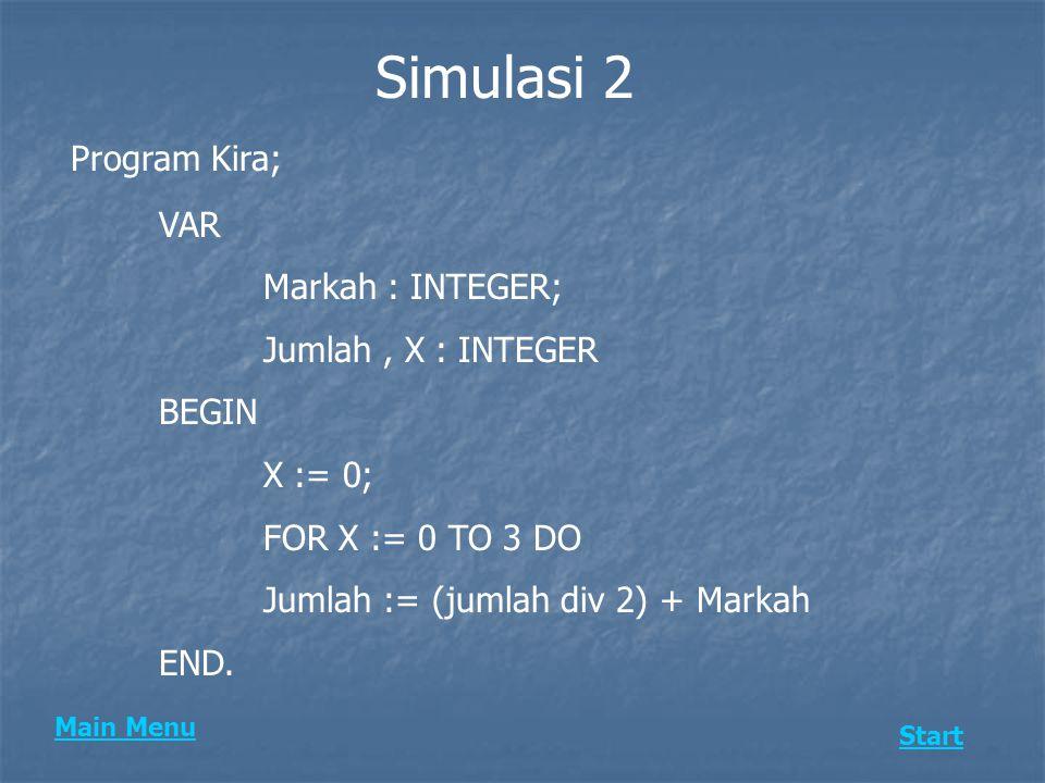 Simulasi 2 Program Kira; VAR Markah : INTEGER; Jumlah, X : INTEGER BEGIN X := 0; FOR X := 0 TO 3 DO Jumlah := (jumlah div 2) + Markah END. Main Menu S