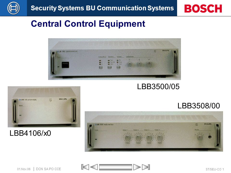 Security Systems BU Communication Systems ST/SEU-CO 12 DCN SA PO CCE 01.Nov.06 Extension Power Supply LBB4106/x0 1 3 4 2 Rear view 1.