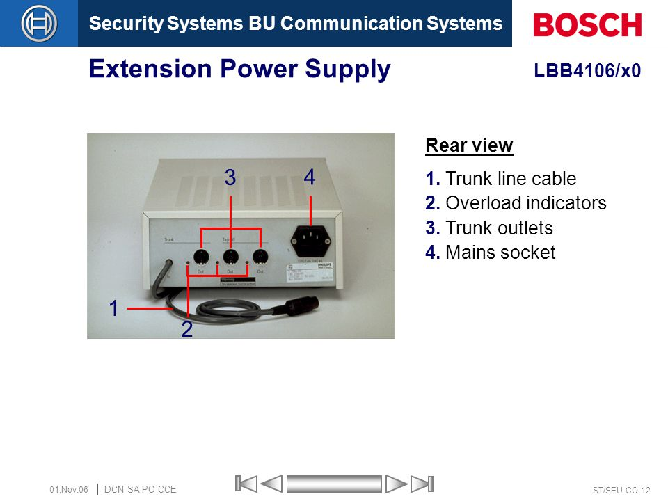 Security Systems BU Communication Systems ST/SEU-CO 12 DCN SA PO CCE 01.Nov.06 Extension Power Supply LBB4106/x0 1 3 4 2 Rear view 1. Trunk line cable