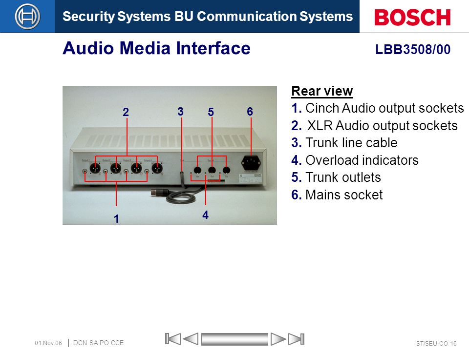 Security Systems BU Communication Systems ST/SEU-CO 16 DCN SA PO CCE 01.Nov.06 Audio Media Interface LBB3508/00 2 1 5 6 3 4 Rear view 1. Cinch Audio o